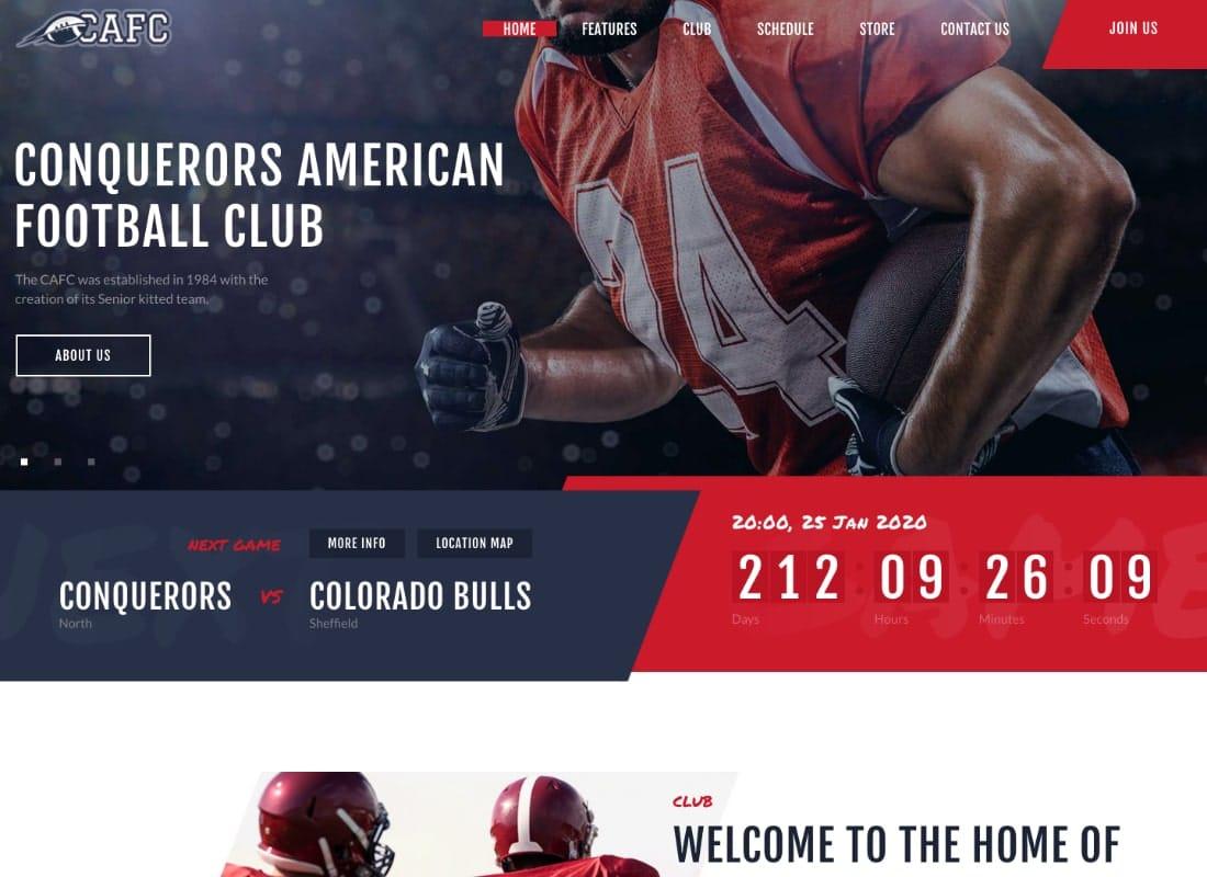 Conquerors | American Football & NFL Team WordPress Theme Website Template