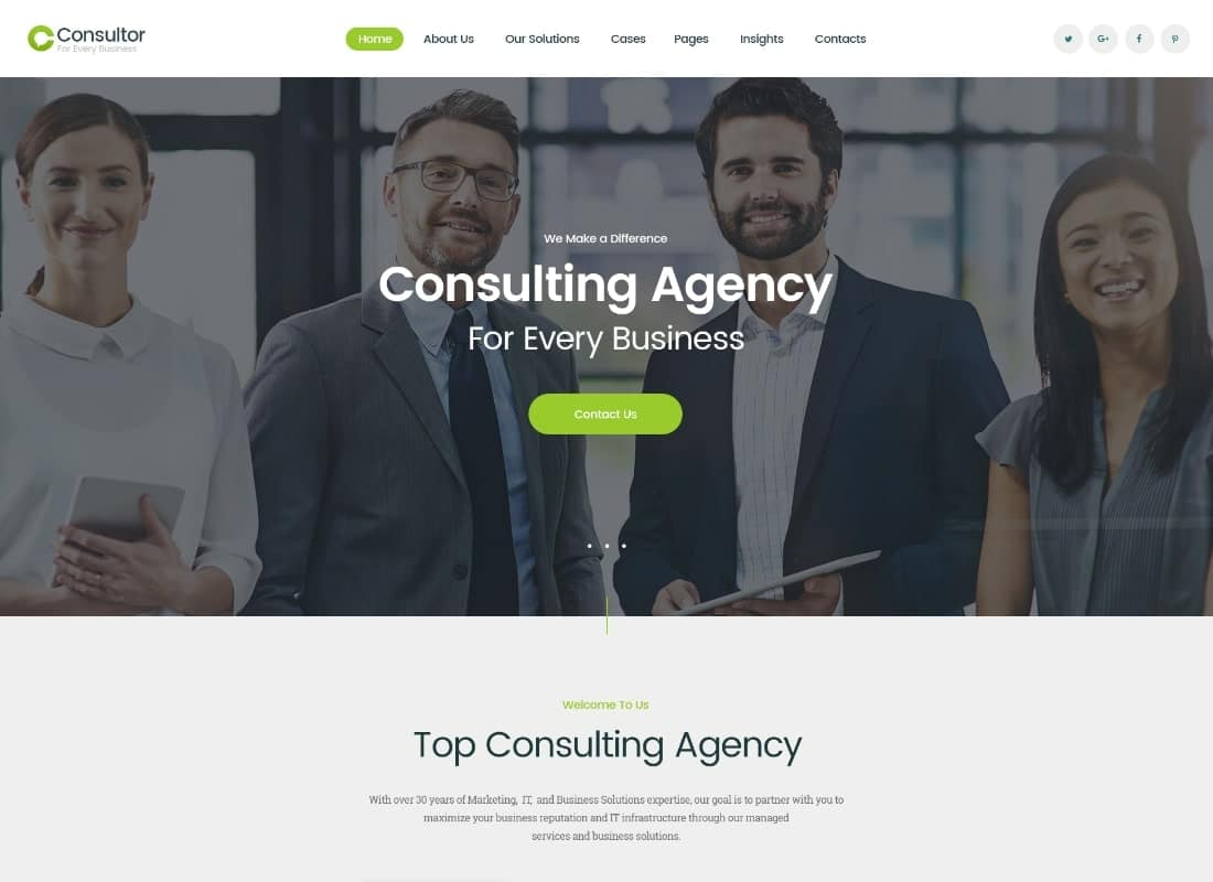 Consultor | A Business Financial Advisor PSD Template Website Template