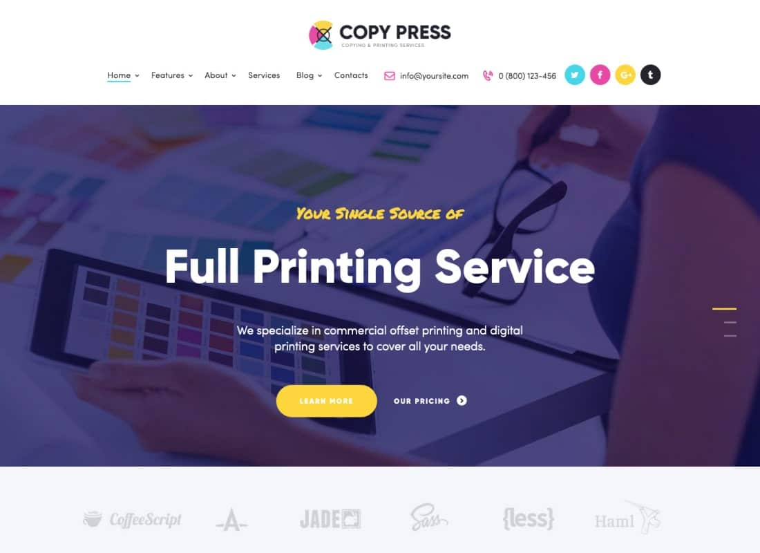 CopyPress | Type Design & Printing Services WordPress Theme Website Template