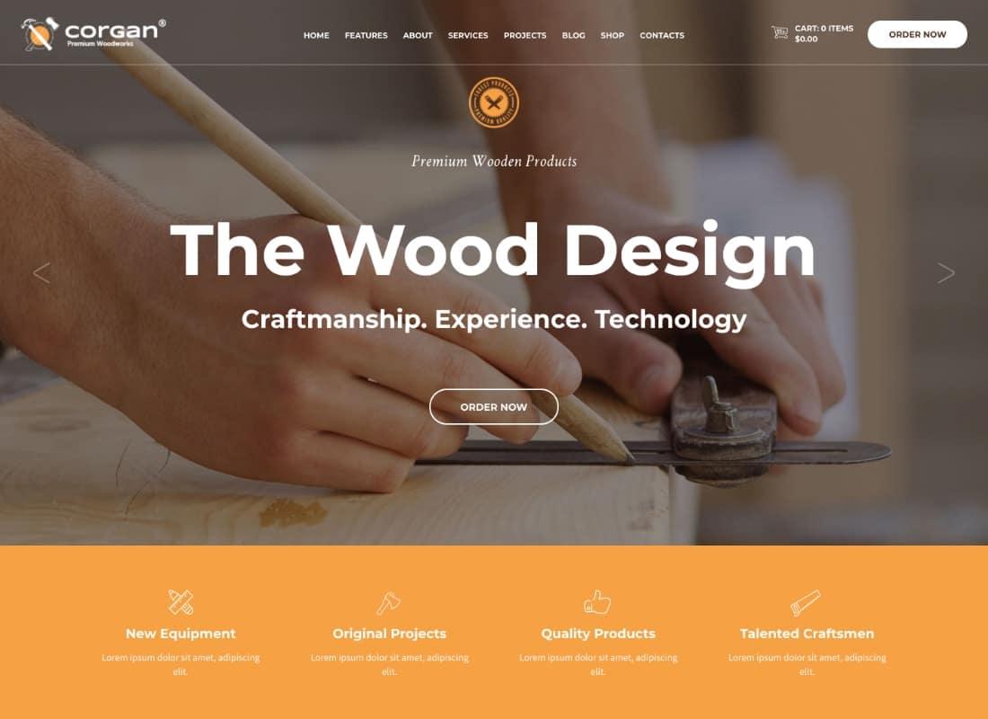 Corgan | Woodworks, Carpentry and Flooring WordPress Theme Website Template