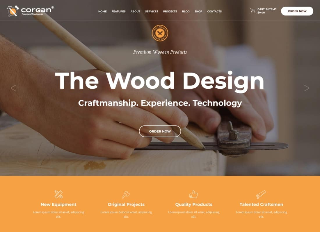 Corgan | Woodworks, Carpentry and Flooring WordPress Theme Website Template