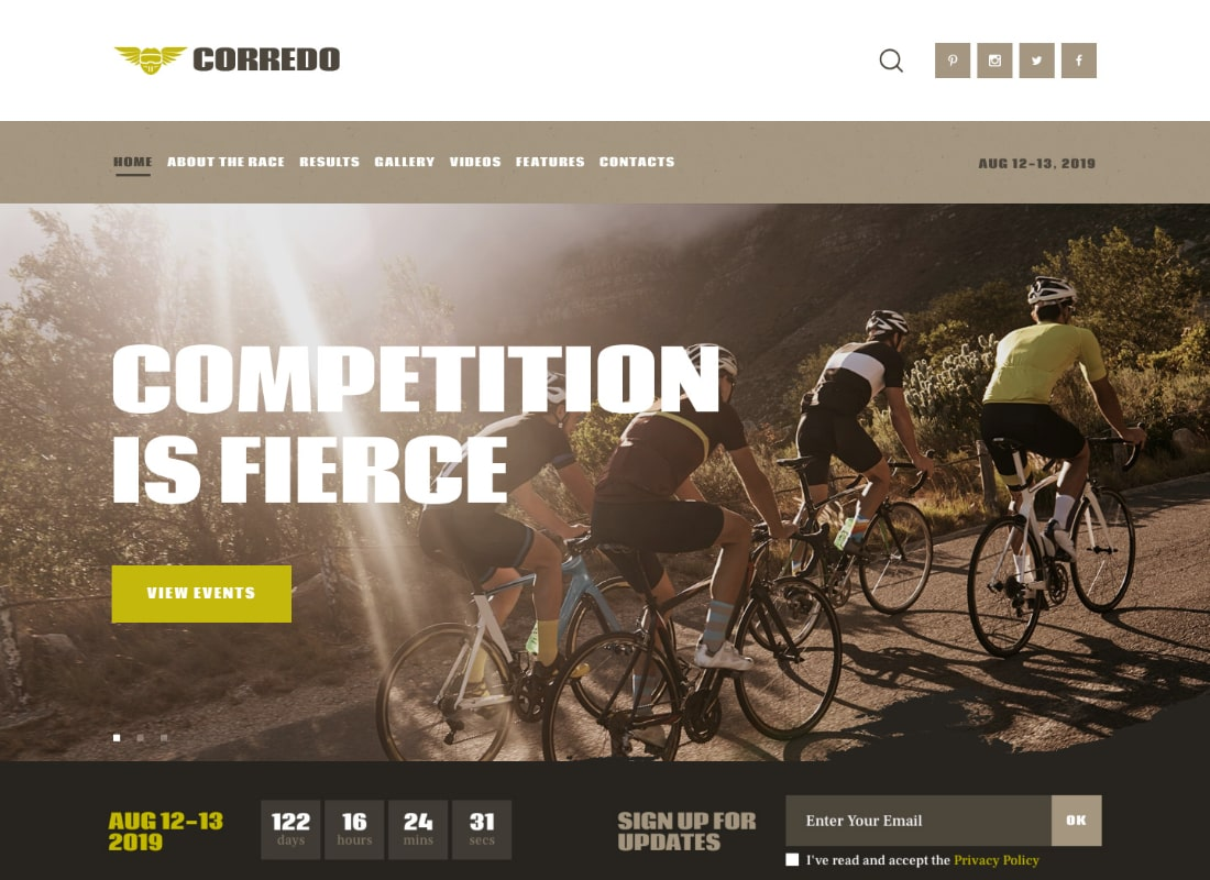Corredo | Bike Race & Sports Events WordPress Theme Website Template