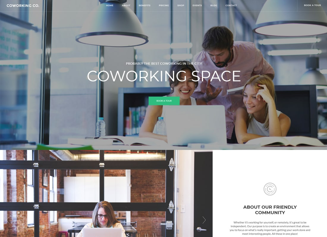 Coworking Co. - Creative Space WordPress Theme Website Template