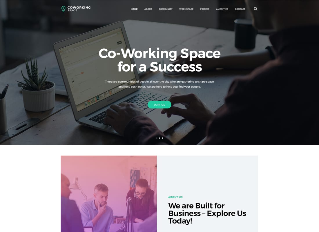 Coworking - Open Office & Creative Space WordPress Theme Website Template
