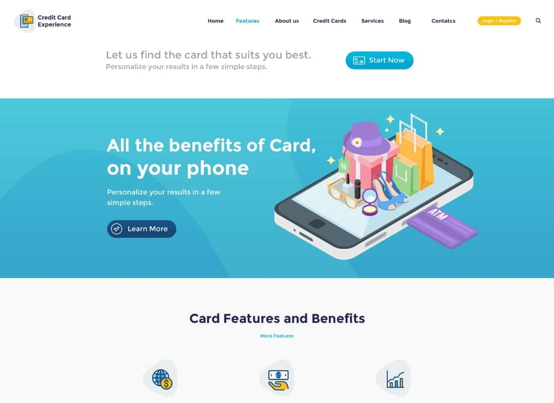Credit Card Experience   Credit Card Company and Online Banking WordPress Theme Website Template
