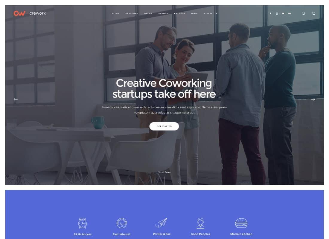 Crework | Coworking and Creative Space WordPress Theme Website Template