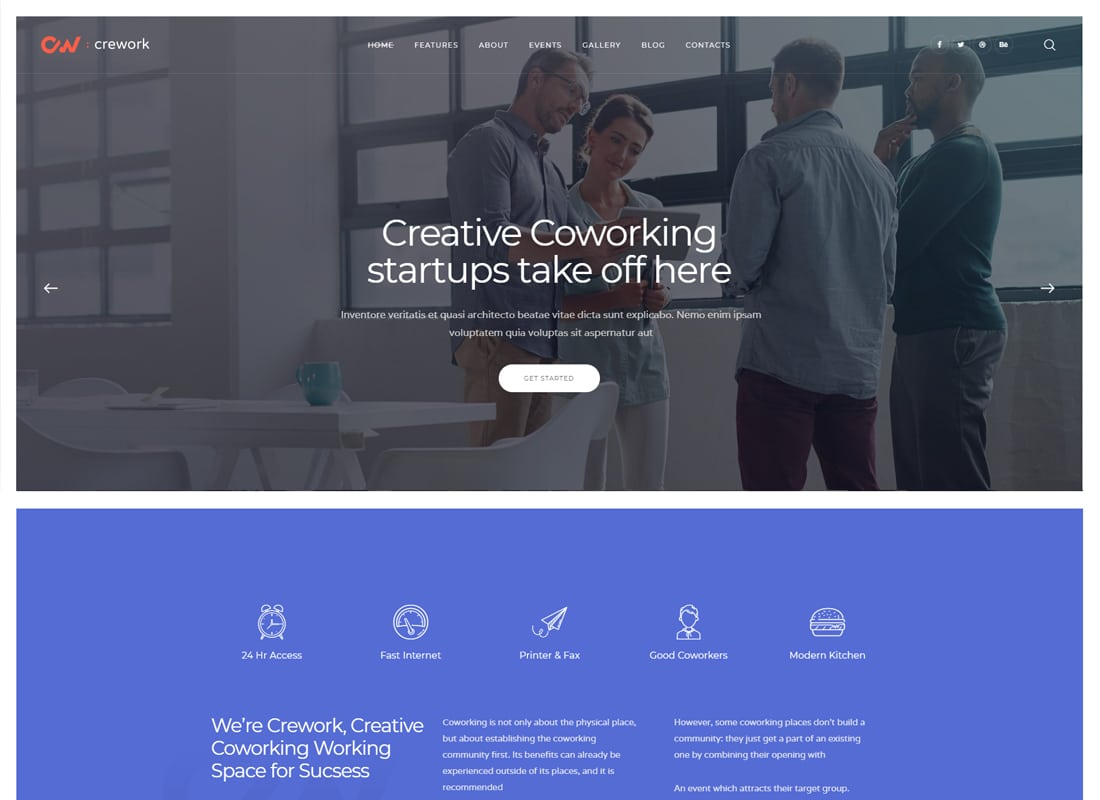 Crework | Coworking and Creative Space WordPress Theme Website Template