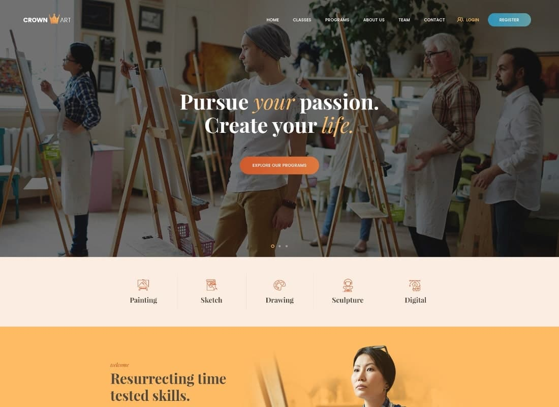 Crown Art | Drawing and Music School WordPress Theme Website Template