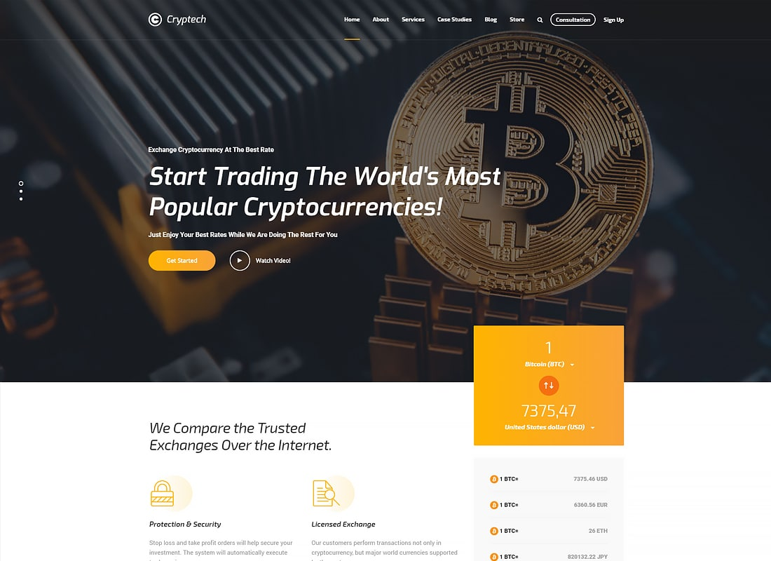 Cryptech - Investments, Consulting, ICO and Cryptocurrency WordPress Theme   Website Template