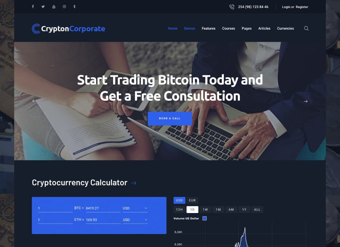 Crypton | A Multi-Purpose Cryptocurrency & ICO WordPress Theme Website Template