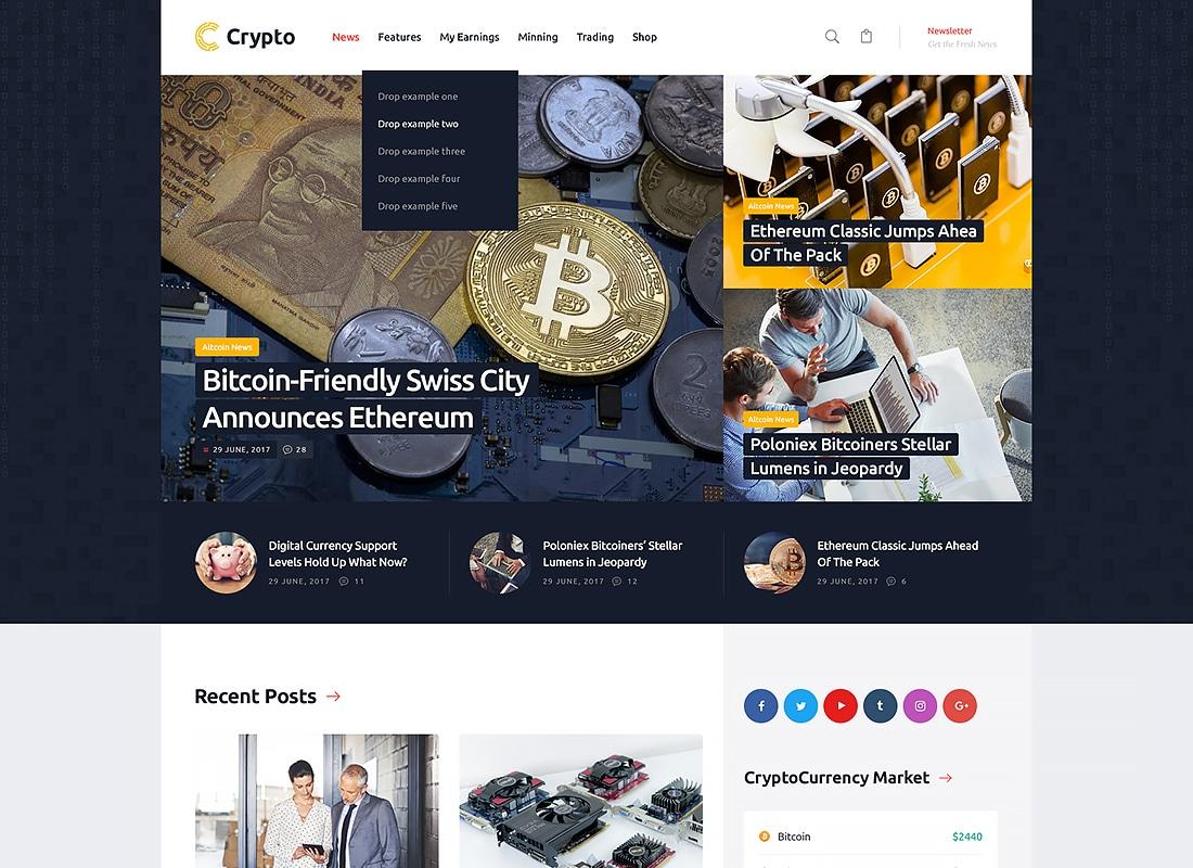 Crypton | A Multi-Purpose Cryptocurrency WordPress Theme   Website Template