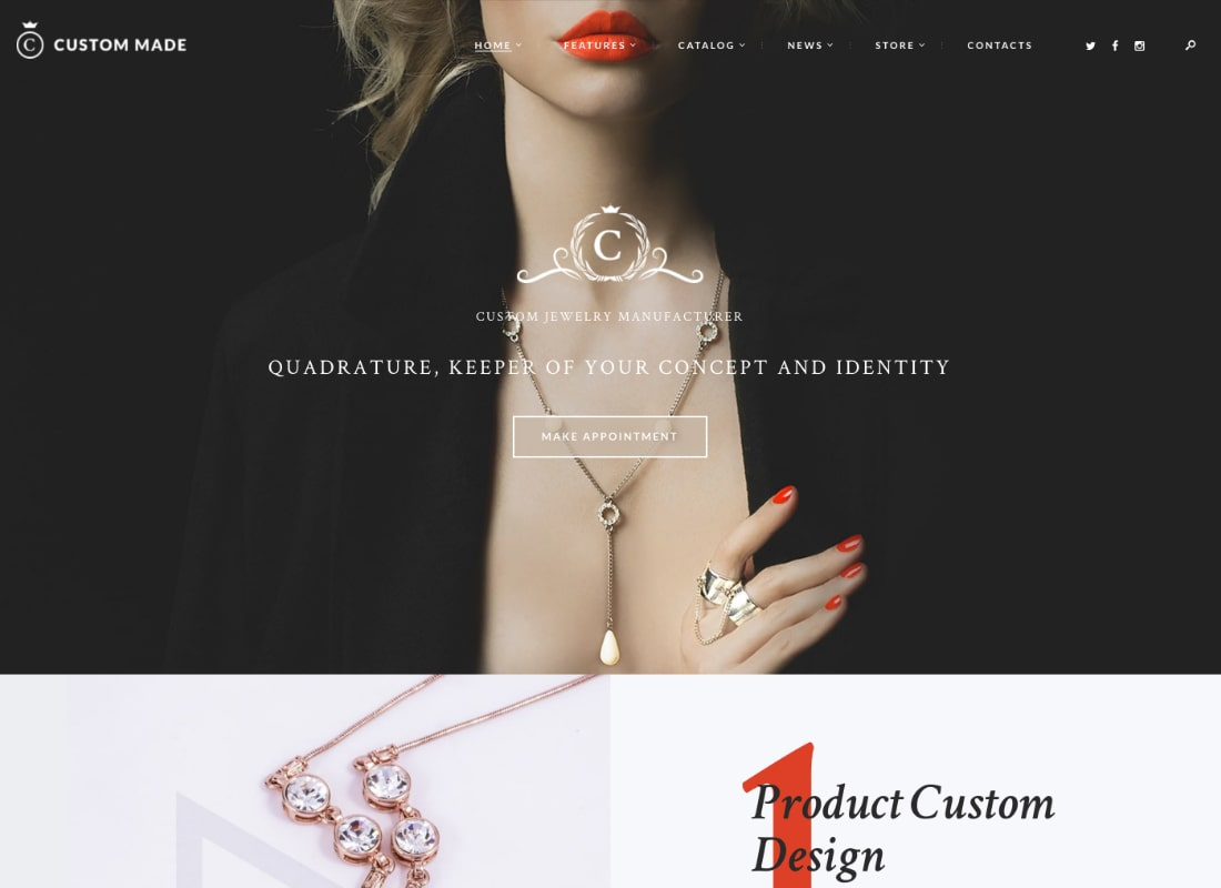 Custom Made | Jewelry Manufacturer and Store WordPress Theme Website Template