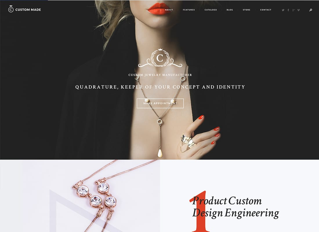 Custom Made - Jewelry Manufacturer and Store WordPress Theme   Website Template