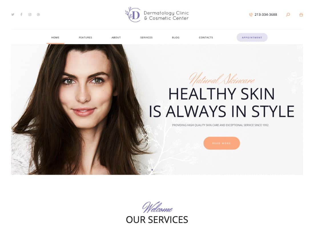 D&C | Dermatology Clinic & Cosmetology Center WordPress Theme  Website Template