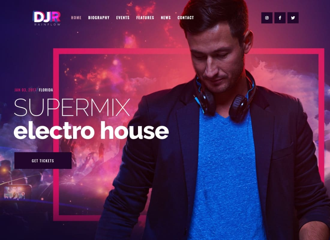 DJ Rainflow | A Music Band & Musician WordPress Theme Website Template