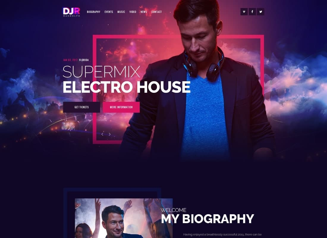 DJ Rainflow | Music Band & Musician PSD Template Website Template
