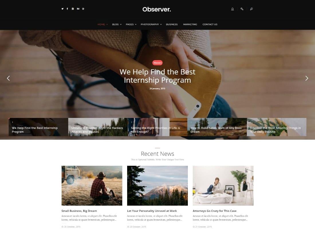Daily Observer - A Modern Magazine & News Portal WordPress Theme Website Template