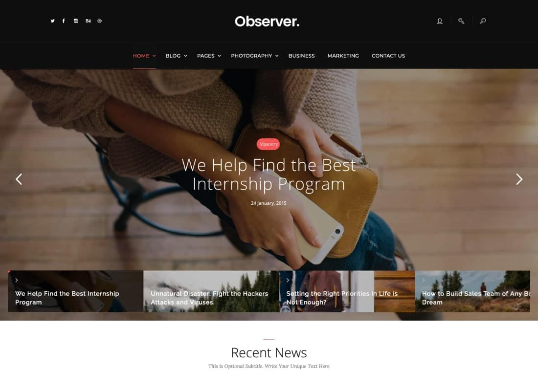Daily Observer - A Modern Magazine, Review & News Portal WordPress Theme Website Template