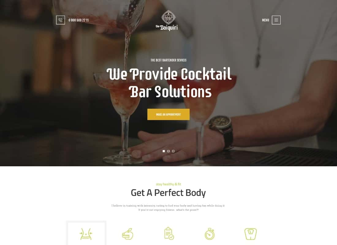 Daiquiri | Bartender Services & Catering Cocktail WordPress Theme Website Template