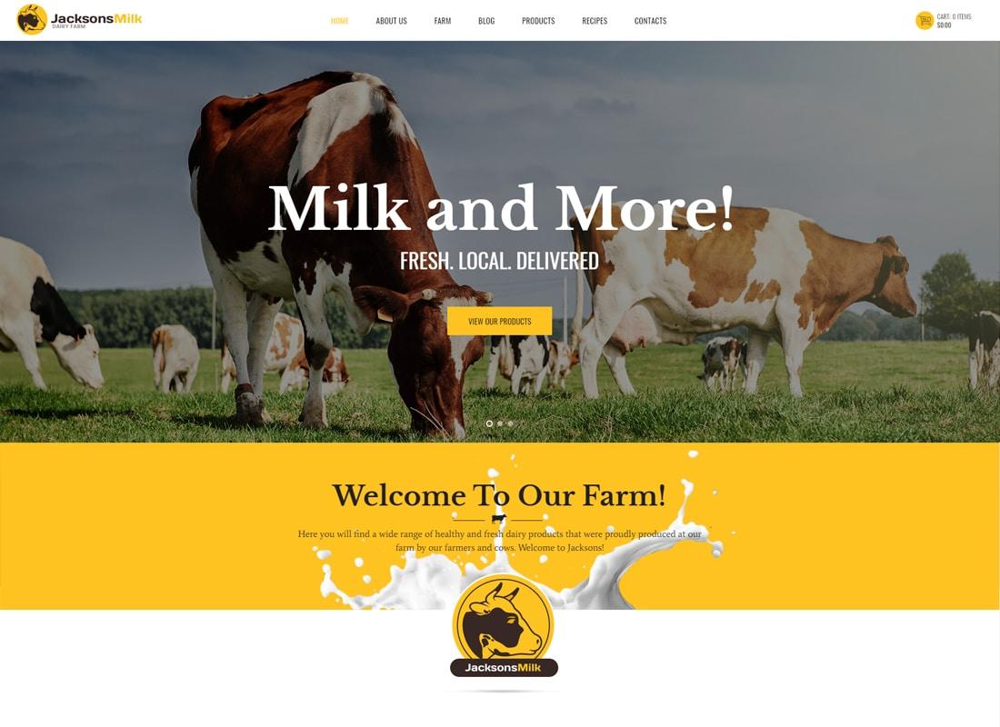 Dairy Farm & Eco Products WordPress Theme   Website Template