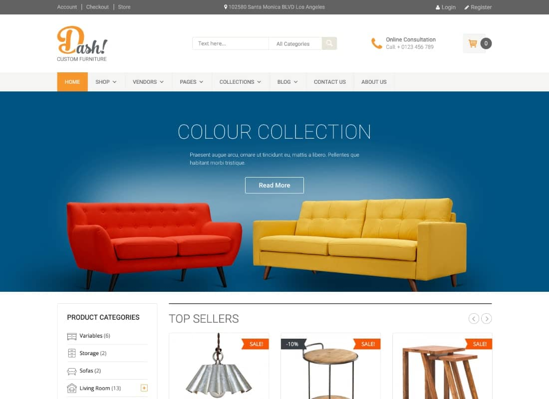 Dash | Handmade Furniture Marketplace Theme Website Template