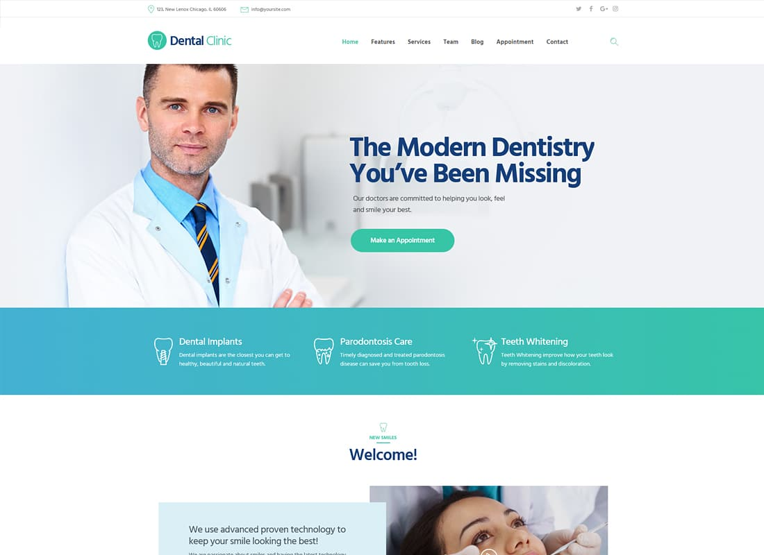 Dental Clinic, Medicine & Healthcare WordPress Theme Website Template