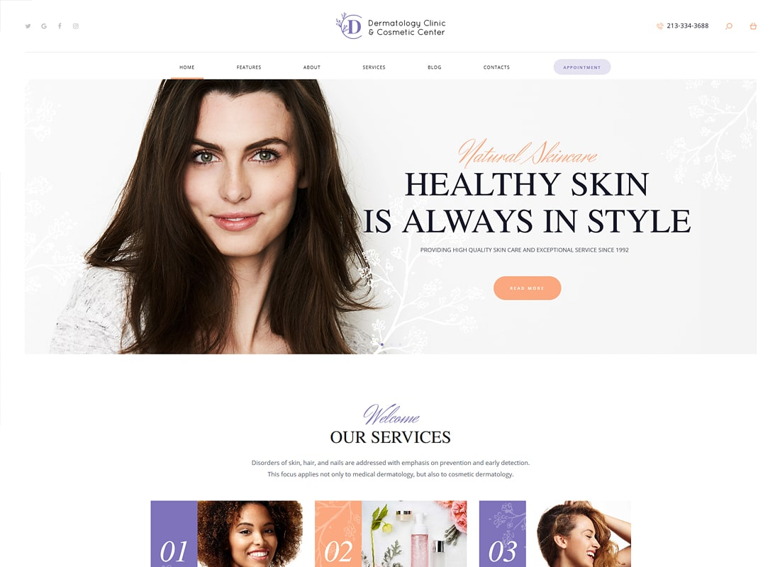 D&C - Dermatology Clinic & Cosmetology Center WordPress Theme   Website Template
