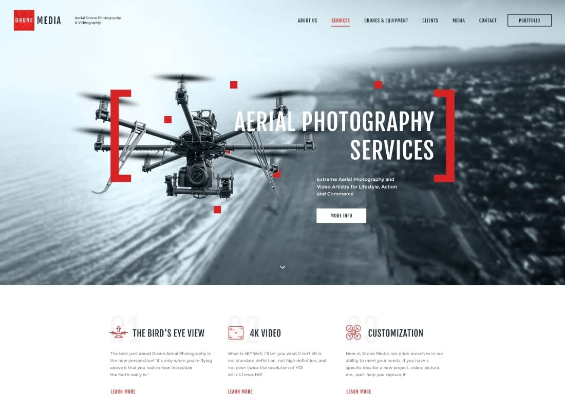 Drone Media | Aerial Photography & Videography WordPress Theme + Elementor Website Template