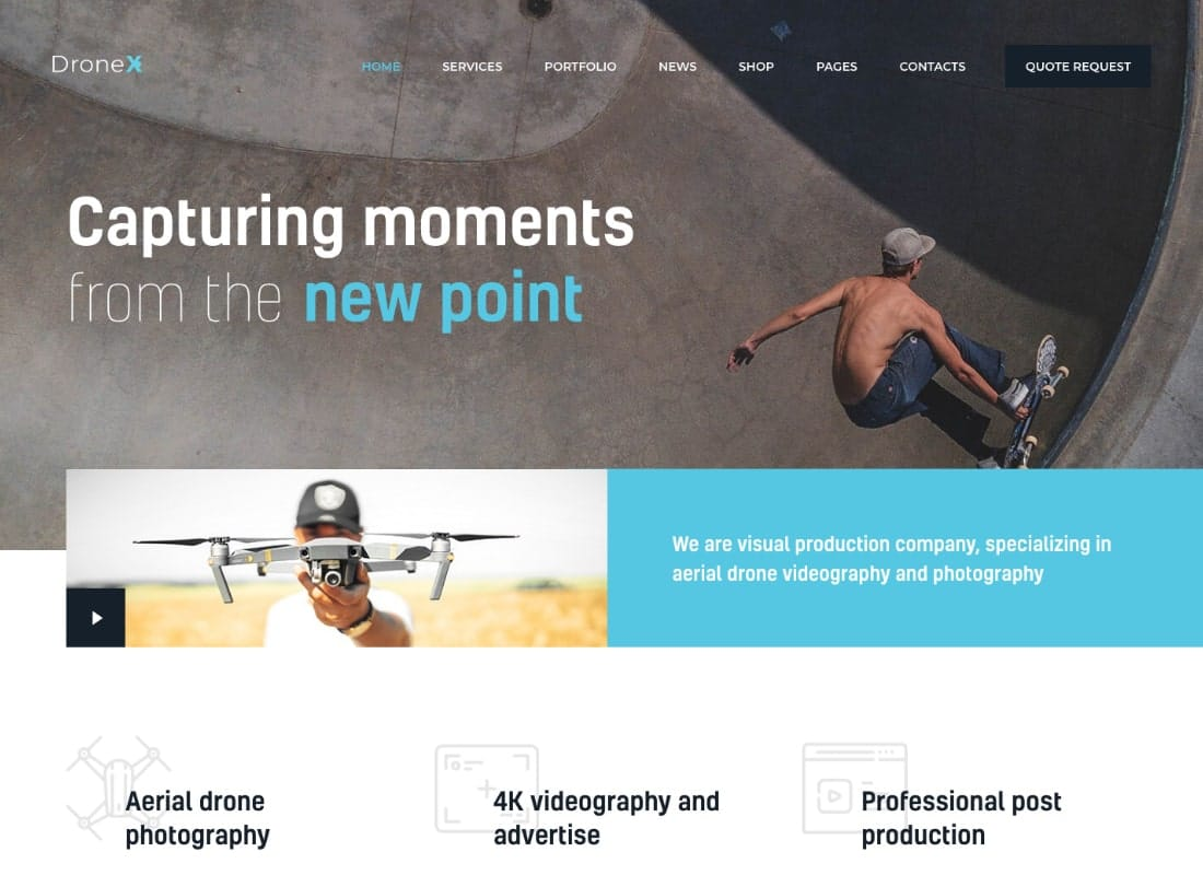 DroneX | Aerial Photography & Videography WordPress Theme Website Template