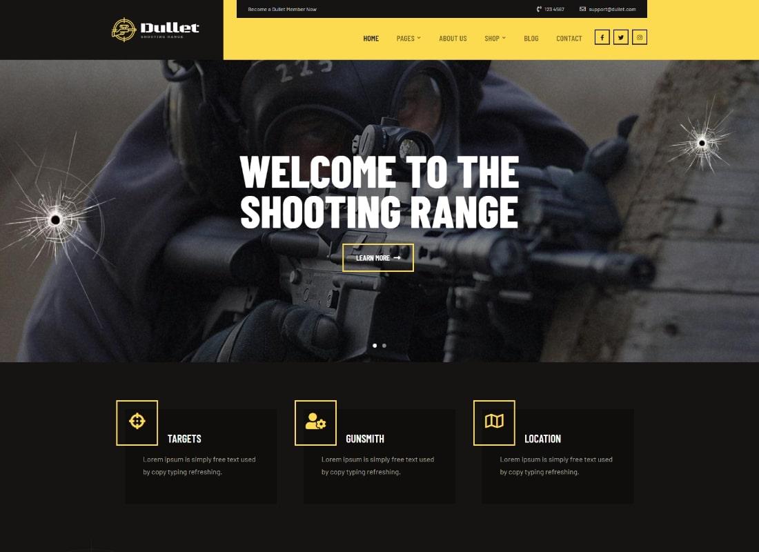 Dullet - Shooting Range & Gun Club Theme Website Template