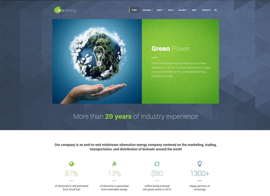 ECO Energy | Ecology & Alternative Power Company WordPress Theme Website Template