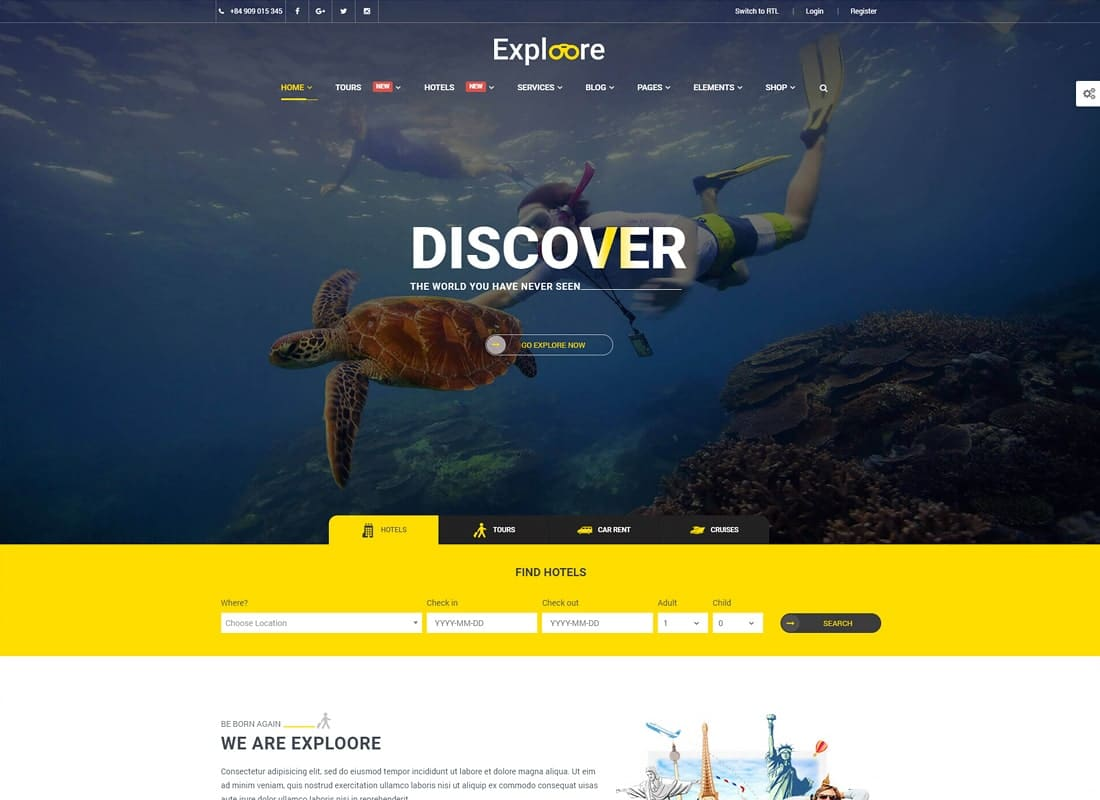 Tour Booking Travel | EXPLOORE Travel Website Template