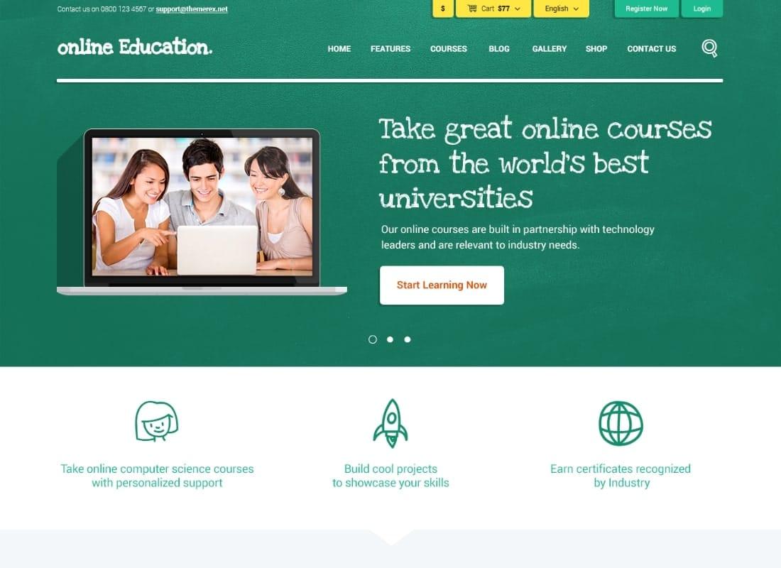 Education Center | Training Courses WordPress Theme Website Template