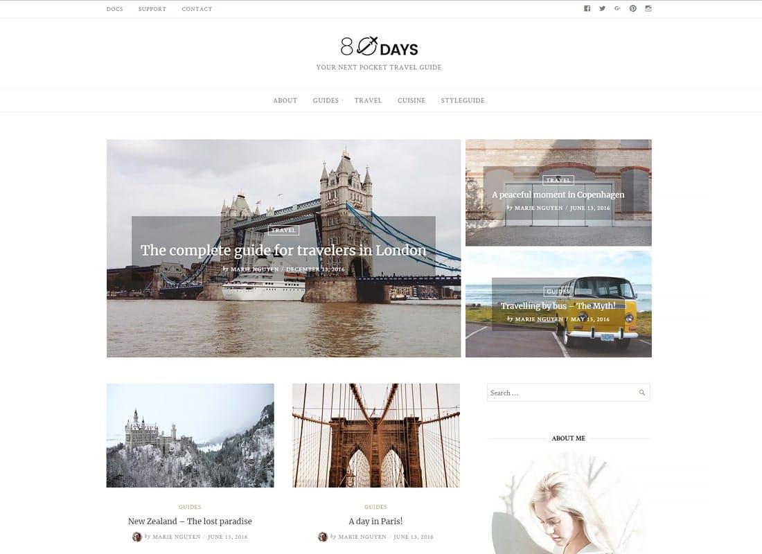 EightyDays - A WordPress Travel Theme For Travel Blogs Website Template