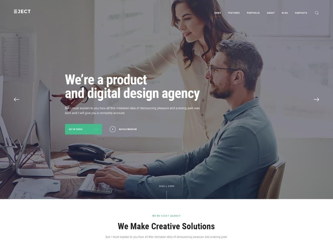 Eject | Web Studio & Creative Agency WordPress Theme Website Template