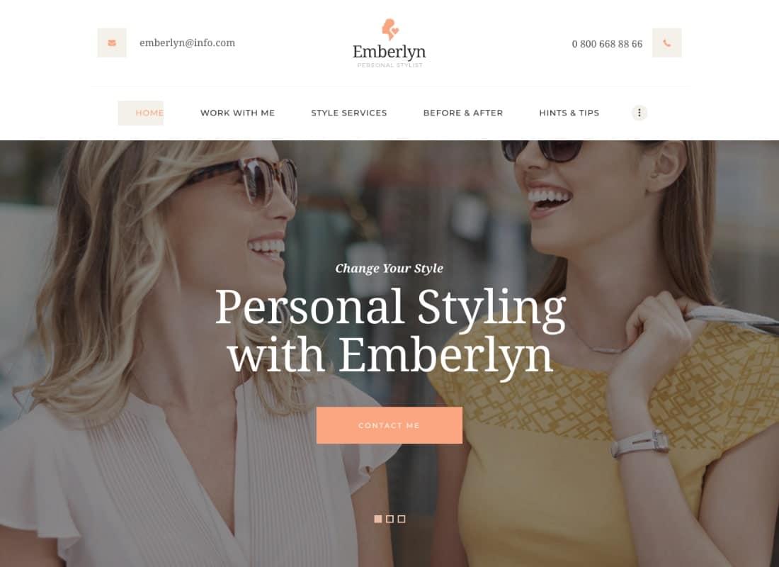 Emberlyn   Personal Stylist & Fashion Clothing WordPress Theme Website Template