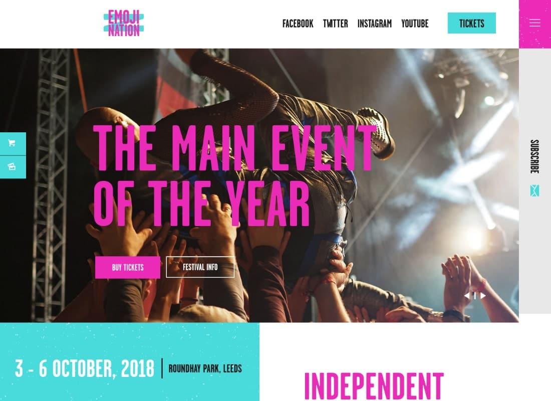 EmojiNation | Night Club & Concert Event WordPress Theme Website Template