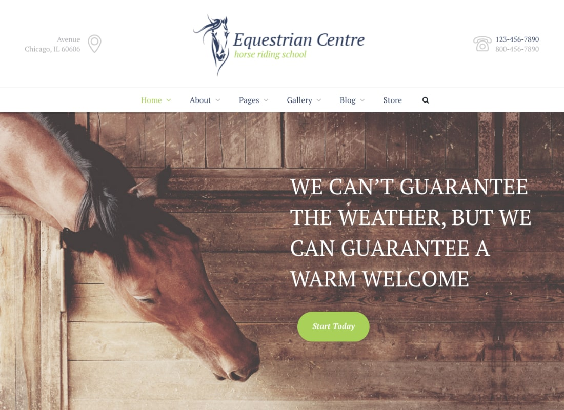 Equestrian Centre & Horse-riding School WordPress Theme Website Template