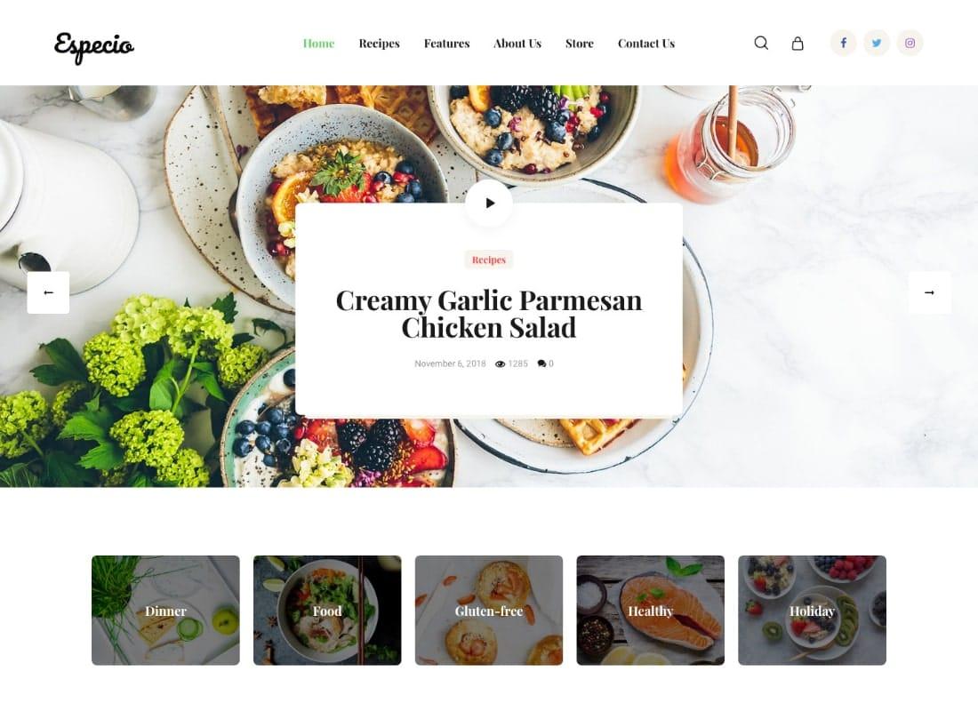 Especio | Personal Gutenberg Food Blog WordPress Theme Website Template