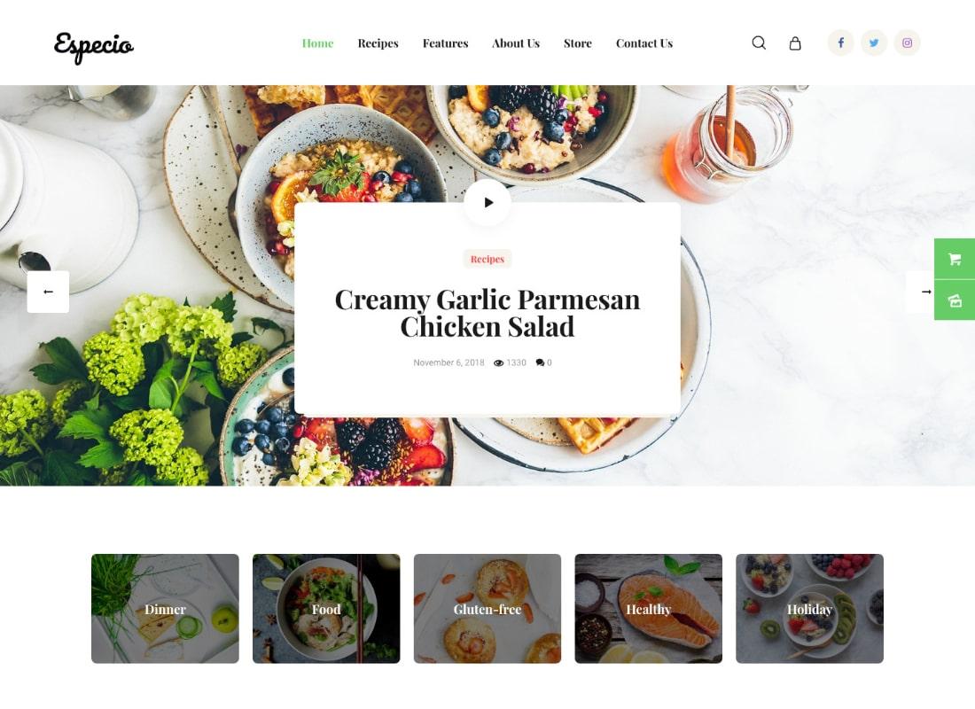 Especio   Personal Gutenberg Food Blog WordPress Theme Website Template