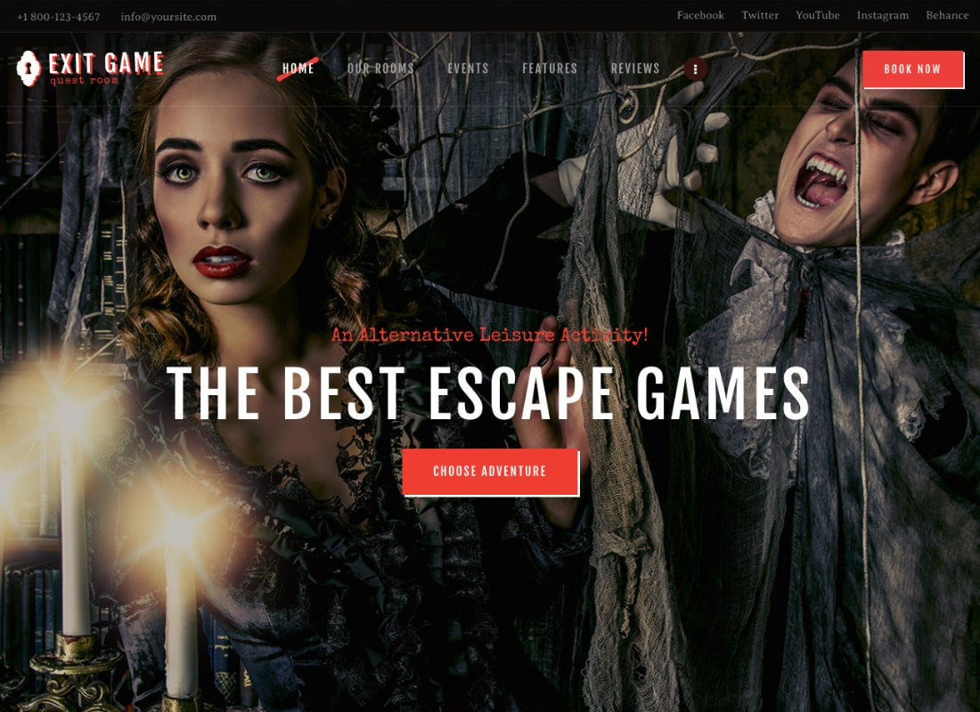 Exit Game | Real-Life Room Escape WordPress Theme Website Template