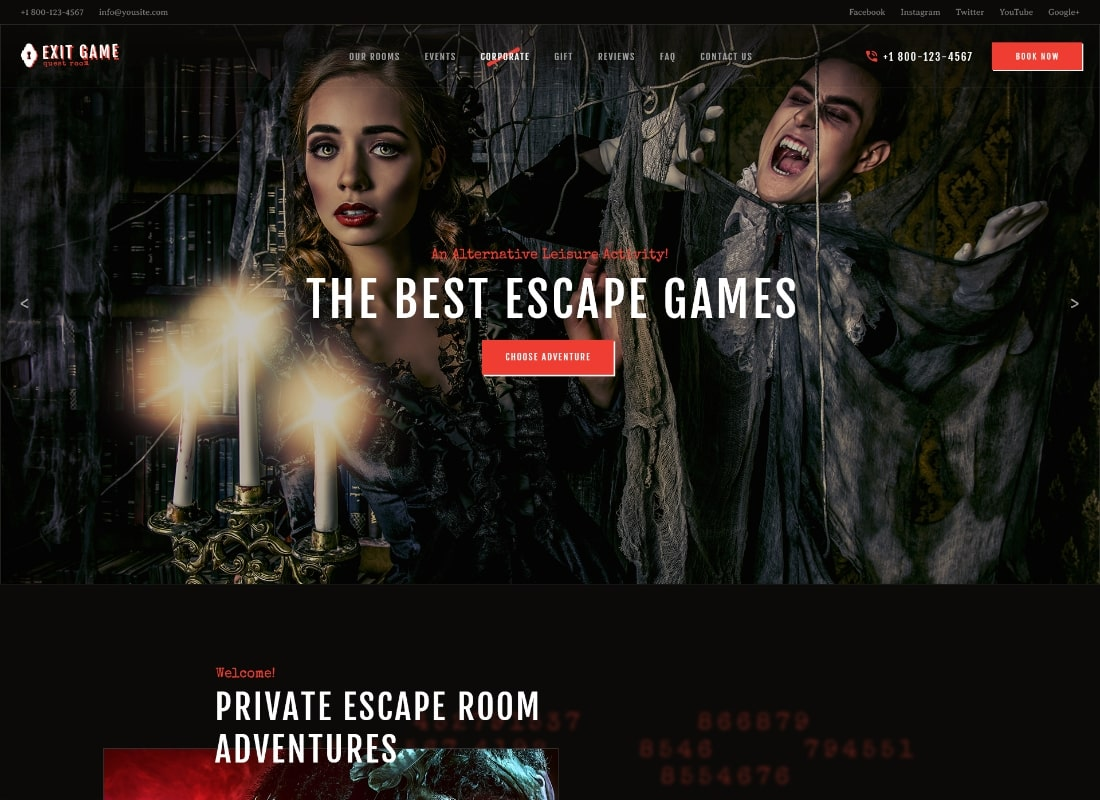 Exit Game   Real-Life Room Escape WordPress Theme Website Template