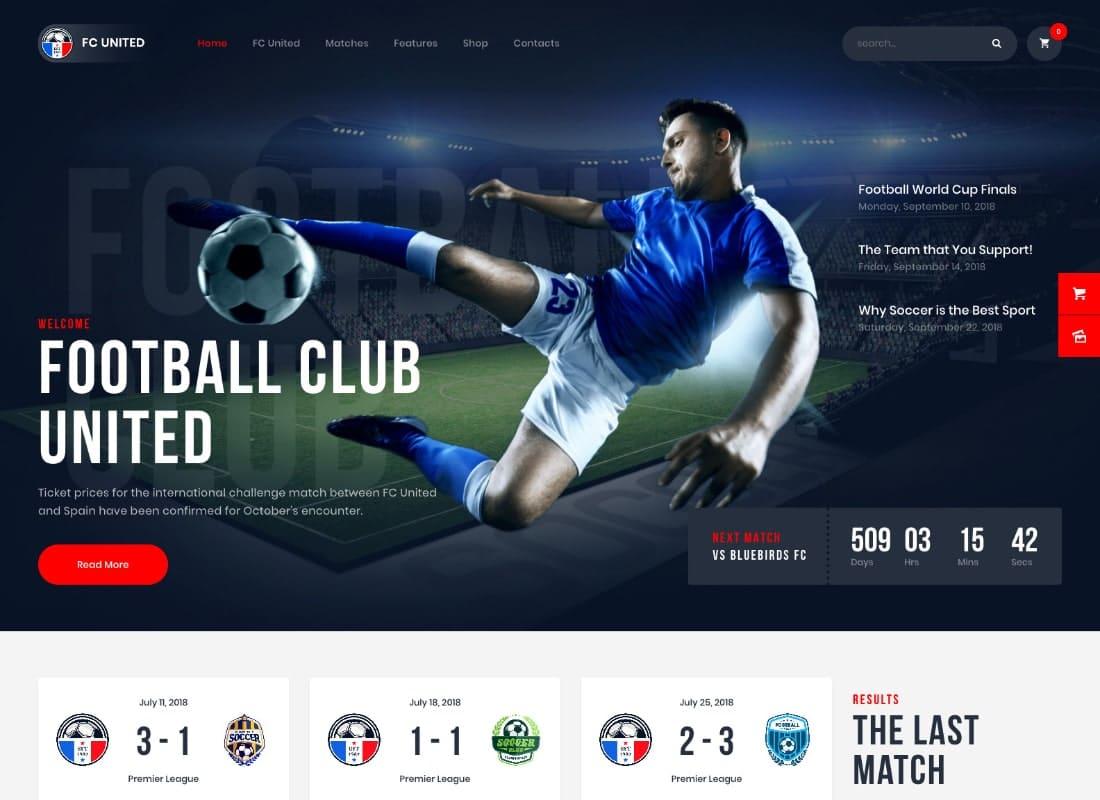 FC United | Football, Soccer WordPress Sports Theme Website Template