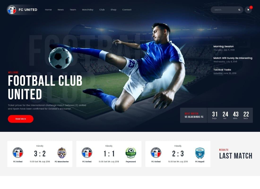 FC United   Football, Soccer & Sports WordPress Theme + RTL Website Template