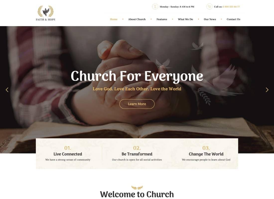 Faith & Hope | A Modern Church & Religion WordPress Theme Website Template