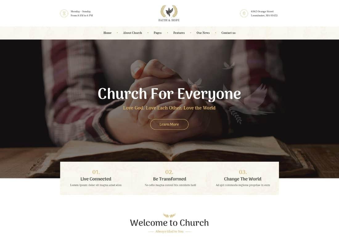 Faith & Hope | A Modern Church & Religion Non-Profit WordPress Theme Website Template