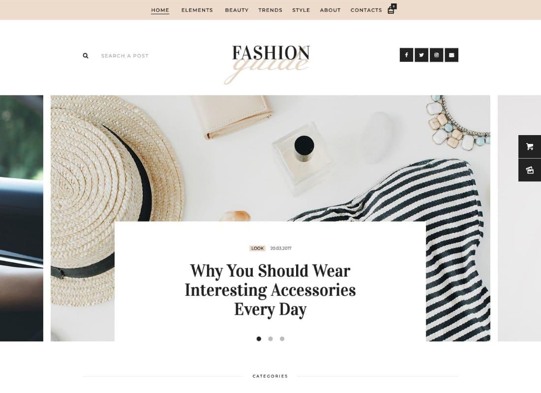Fashion Guide   Online Magazine & Lifestyle Blog WordPress Theme Website Template
