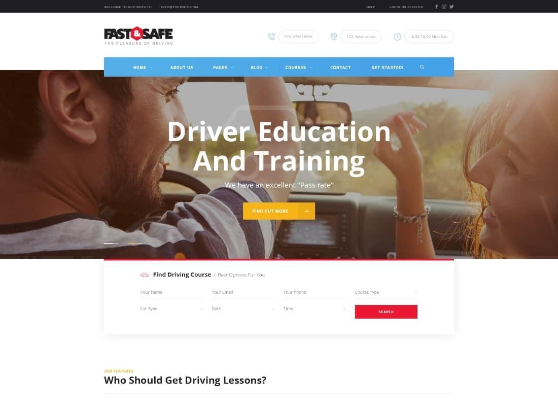 Fast & Safe   Driving School WordPress Theme Website Template