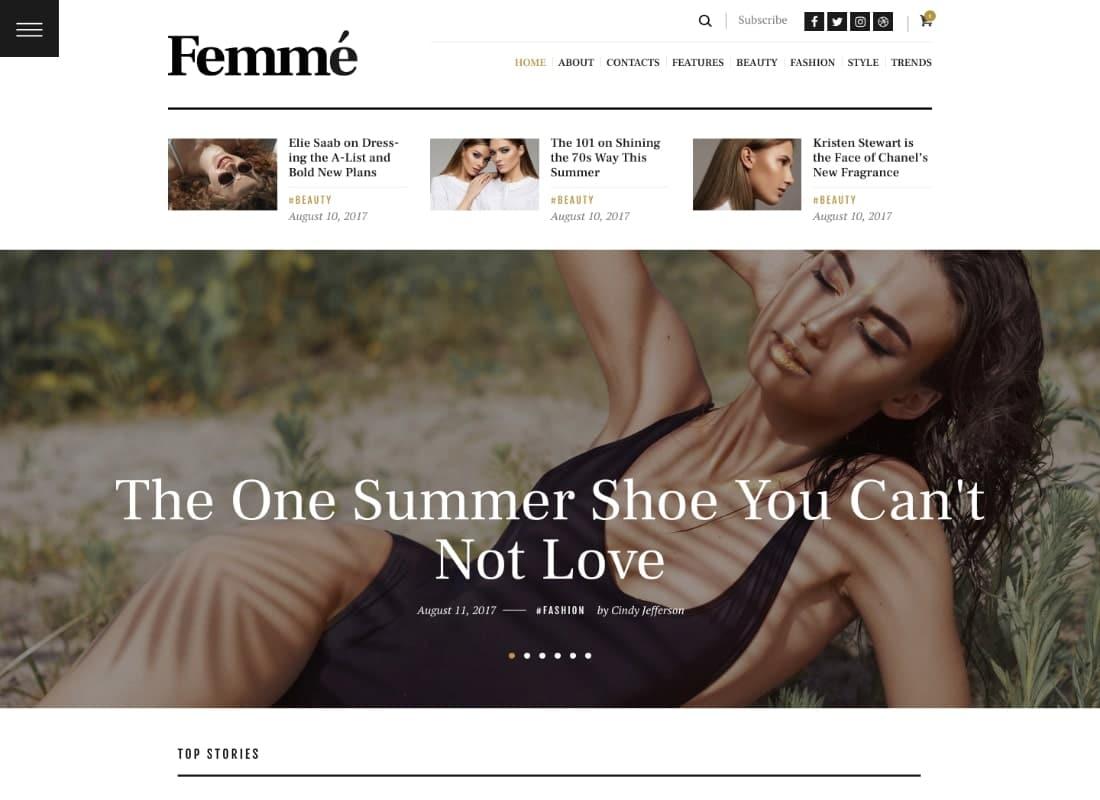 Femme - An Online Magazine & Fashion Blog WordPress Theme Website Template