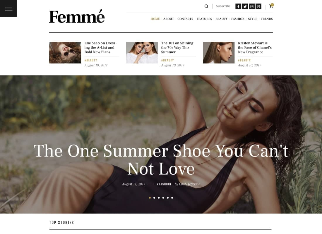 Femme - An Online Magazine & Fashion Blog WordPress Theme Website Template
